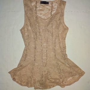 Nude lace tank top